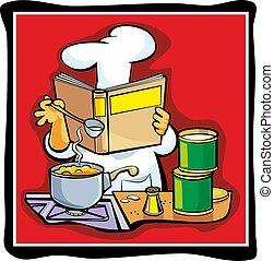 Chef preparing soup and reading recipe cookbook.