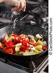 Chef preparing vegetarian food