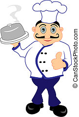 Chef presenting a meal - Vector Illustration of A Chef...