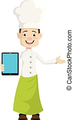 Chef - Presenting a Tablet with blank screen