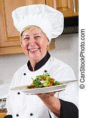 chef, professionale, anziano, femmina