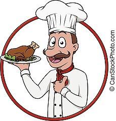 chef, pulgar up, con, pollo, en, placa
