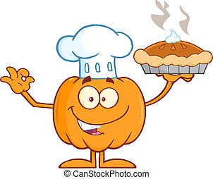 Chef Pumpkin Holding Perfect Pie - Chef Pumpkin Mascot...