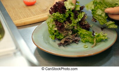 chef putting salad leaves on a plate. cooking salad step by step