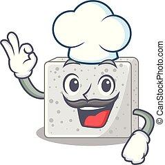 chef, queso, carácter, feta, pedazos