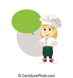 chef, ragazza, con, vuoto, callout