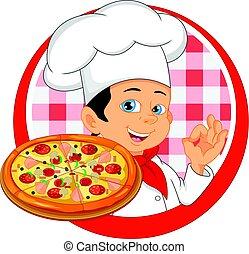 chef, ragazzo, cartone animato, pizza