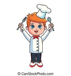 chef, ragazzo, cartone animato