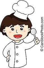 chef, ragazzo, illustratore