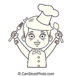 chef, ragazzo, linee, cartone animato, marrone