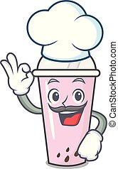 Chef raspberry bubble tea character cartoon