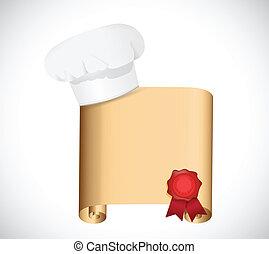 chef, receta, diseño, ilustración