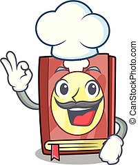 Chef recipe book isolated in the cartoon