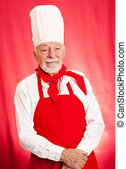 chef, retrato, en, rojo