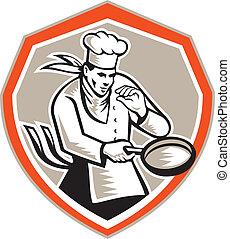 chef, retro, tenencia, cocinero, sartén