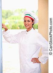 Chef ringing doorbell