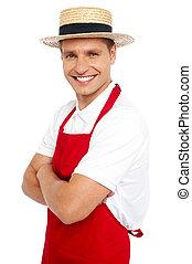 chef, ritratto, rilassato, sorridente, bello