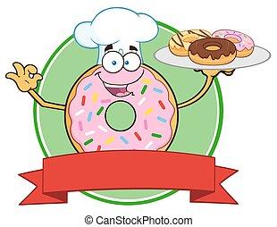 chef, rosa, círculo, rosquilla, etiqueta