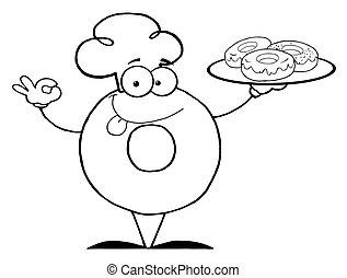 chef, rosquilla, contorneado, amistoso