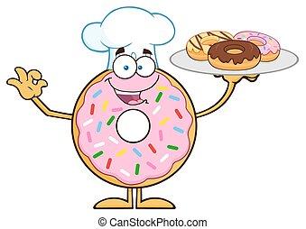 Chef, Rosquilla, porción, carácter, rosquillas