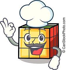 Chef rubik cube character cartoon