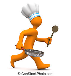 Chef Running - Orange cartoon character with chef's cap, pan...