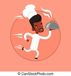 Chef running with cloche vector illustration.