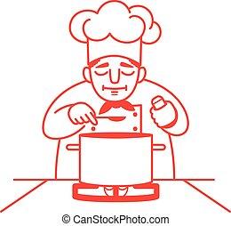 chef, saboreo, el, sopa