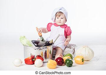 chef, sano, ragazza, cibo, preparare
