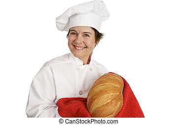 Chef Series - Fresh Baked Bread - Cute female chef smiling...