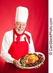 Chef Serves Holiday Dinner