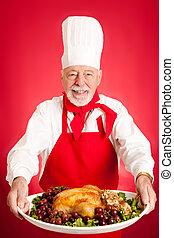 Chef Serves Turkey Dinner