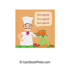 chef serves turkey