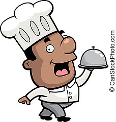 A happy cartoon chef serving food on a tray.