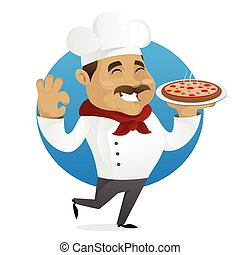 Chef serving pizza