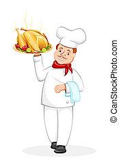 Chef serving Roasted Chicken