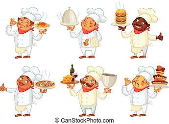 Chef serving the dish. Funny cartoon character. Vector...