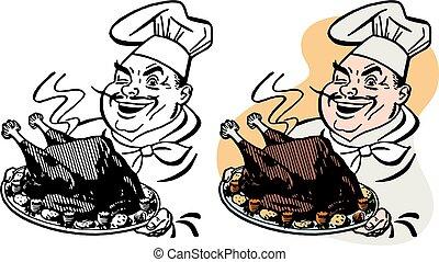 Chef Serving Turkey