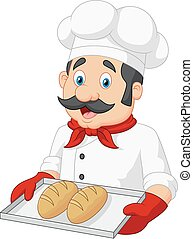 chef, servire, cartone animato, bread