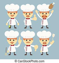 chef, set, carattere, cartone animato, vettore