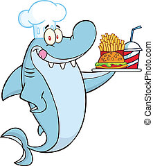 Chef Shark Cartoon Character Holding A Plate Of Hamburger And French Fries Illustration Isolated on white