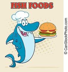 Chef Shark Holding A Big Burger