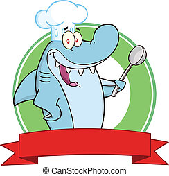 Chef Shark With Big Spoon Label