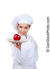 Chef showing apple plate. Isolated on white background with...