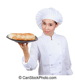 Chef showing bread plate. Isolated on white background with...