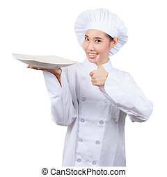 Chef showing empty plate.isolated on white background with...