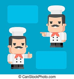 Chef shows and indicates concept