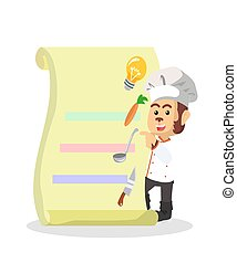 Chef shows the menu vector illustration