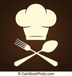 chef, simbolo, coltelleria