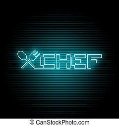 chef, simbolo, neon